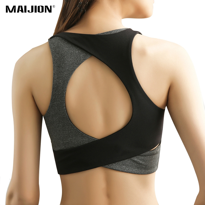 MAIJION Women Sexy Open Back Sports Bra High Impact Shockproof Fitness Yoga Bra Quick Dry Seamless Gym Running Vest Tank Tops one f thin strapes sports bra for women gym wireless medium impact ballet crop top sexy open back fitness yoga bralette 2018