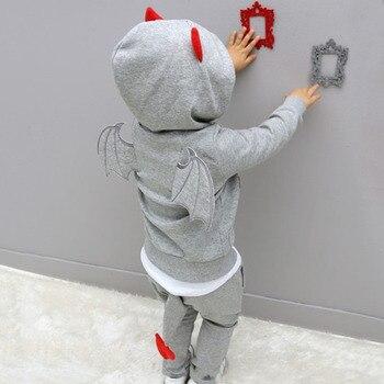 Chłopięce ubrania 2019 nowa jesienna Casual z długim rękawem sport garnitur zestawy dla dzieci Cartoon little devil odzież ustawia prezenty na halloween