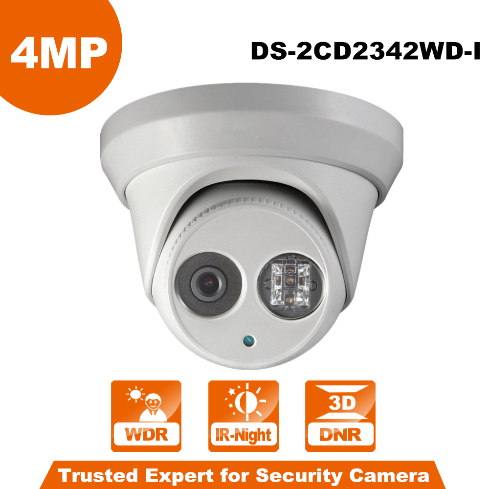 Original English Version  4MP Camera DS-2CD2342WD-I WDR EXIR Turret Network Camera MINI Dome IP Camera CCTV Camera 4mm Lens international english version ds 2cd2h85fwd izs 8mp network turret ip cctv camera behavior analyses wdr vf lens ip67 ik10 h 265