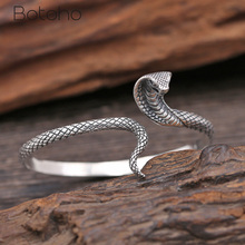 цена на 100% Real 925 Sterling Silver Cobra Bangle for women Turkish Vintage Snake Shape Bracelet Bangle Fashion Jewelry Birthday Gifts