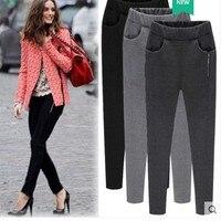 winter women warm leggings pencil pants zippers high waist large size skinny harem pants black grey trousers for female MXL 6XL
