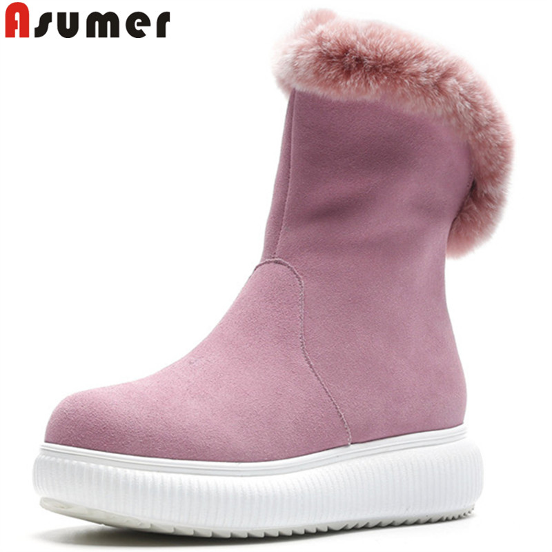 ASUMER 2018 hot sale new ankle boots for women round toe zip winter keep warm snow boots keep warm plus suede leather boots стоимость