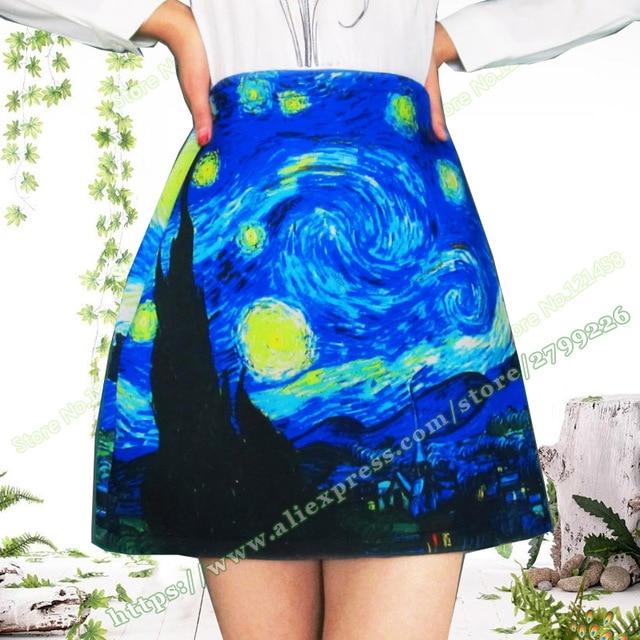 e57113fbb0 2017 Plus size xxxxl Autumn Winter Space Cotton van gogh starry night  Fashion Print a-line Short Skirt / Mini Skirts Womens