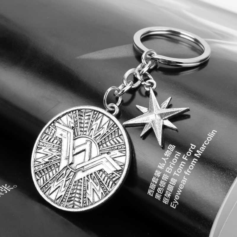 Dongsheng Movie Trang Sức Kỳ Người Phụ Nữ Móc Khóa Vintage Bạc Siêu Anh Hùng Lá Chắn Key Ring Chủ cho Phụ Nữ Đàn Ông Túi Xe Gift-50
