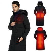 2018 для мужчин женщин USB инфракрасного нагрева куртка зимняя уличная любителей с длинным капюшоном нагрева пальто Электрический Термо