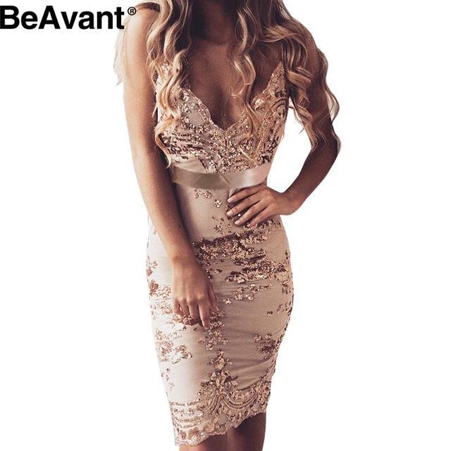 BeAvant Sexy глубокий v шеи bodycon dress Вечера партии элегантный лето dress 2016 блесток короткие dress Женщины пляж сетка vestidos