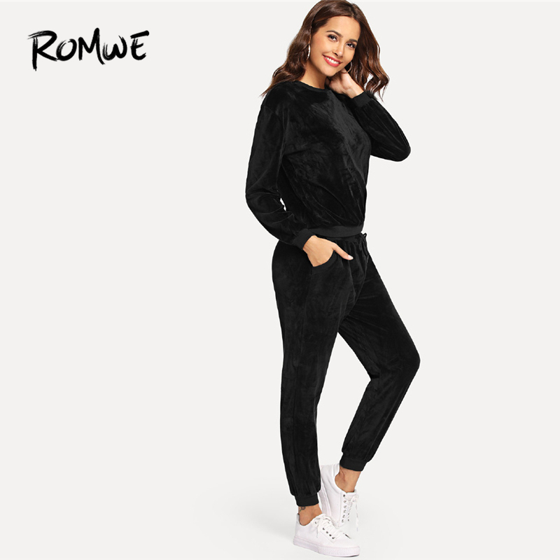 e0f100b57e Romwe Sport Black Long Sleeve Velvet Sport Suits Women Jogging Running Sets  2018 Autumn Fitness Running Suits Workout Clothes
