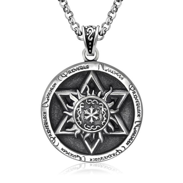 Supernatural Proteção Hexagrama com Runas Pingente Wicca Bruxa Gótico do vintage Colar Amuleto de Couro Homens Jóias