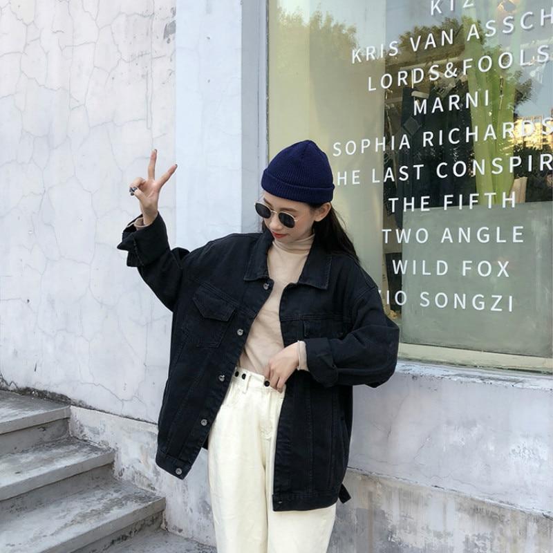 Harajuku Black Denim Jacket Women's Clothing 2020 Spring Korean Coat Women Outerwear Oversize Ladies Casual Jeans Jackets Tops