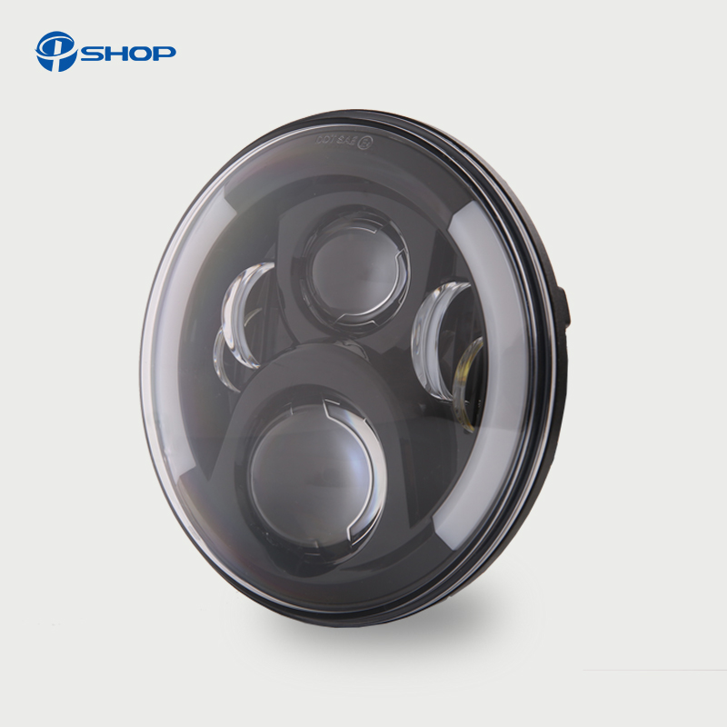 7 LED H4 Halo Headlights with H4 to H13 Adapter For Land Rover 7Inch LED Headlamps with Amber Turn Signal For lada niva 4x4