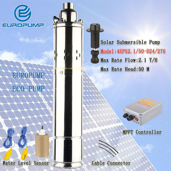 EUROPUMP MODEL(4EPS2.1/50-D24/270) 4 inches Price of Stainless Steel 304 DC Submersible Solar Pump with helical rotor Structure
