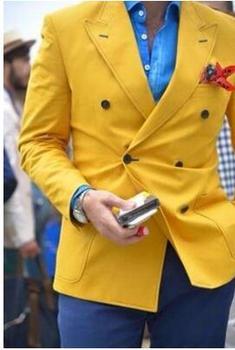 Última chaqueta, pantalón, traje para hombre, Blazer amarillo con doble botonadura, estilo Casual, para hombre, 2 piezas, trajes de fiesta de graduación para boda para hombre (chaqueta + pantalones)