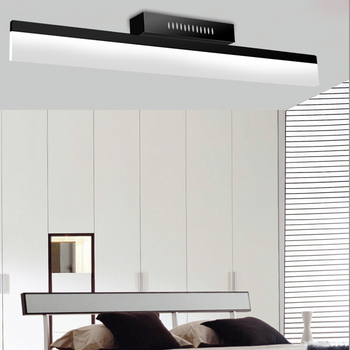 Long Striped LED Ceiling Light Office Bedroom Modern Simple Wall/Ceiling Mounted Mirror Front Lamp Black White Long Lighting
