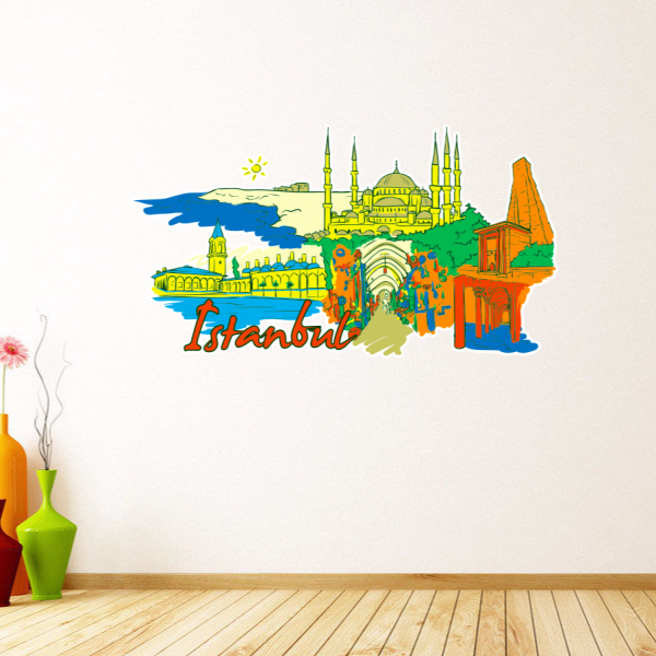 Istanbul Illustration Travel The Word Landmark Wall Sticker Wedding Decor Vinyl Waterproof Wallpaper Decal