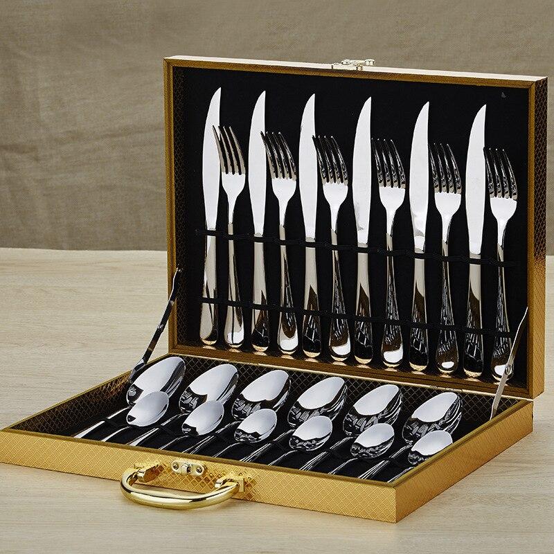 Ensemble de 24 pièces boîte en bois en acier inoxydable vaisselle ensemble 6 pour Steak et fourchette cuillère cuillère et fourchette nourriture pics fourchette en bois 3DCJS20 - 2