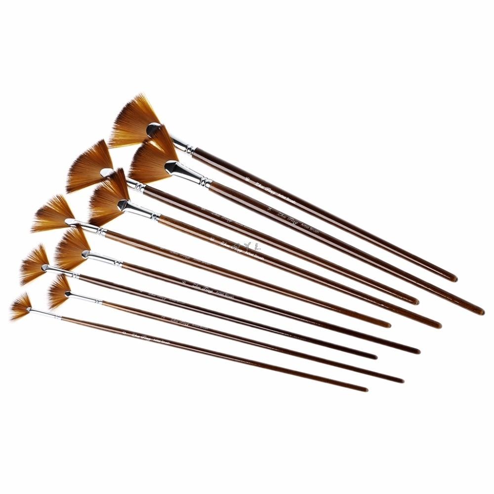 9Pcs Fan Shape Brush Painting Pen Set Nylon Hair Acrylic Watercolor Art Supplies
