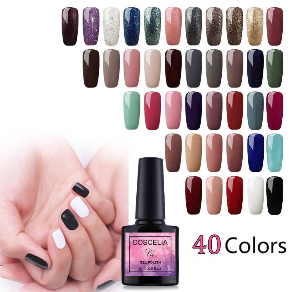 New Nail Art Design Manicure COSCELIA 40PCS 8ML Soak Off Enamel Gel Polish LED UV Gel Nail Polish Lacquer Nail Art Gel Varnish