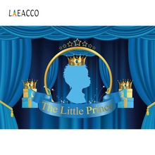 Laeacco Prince Birthday Party Gold Crown Blue CurtainPoster Portrait Photography Background Photo Backdrops Studio