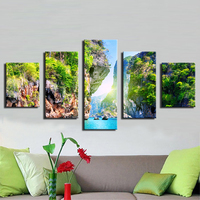5 Panels Thailand Pattaya Beach Ocean Mountains Worlds Best Diving Modern Wall Art Paintings Home Decorative Print On Canvas