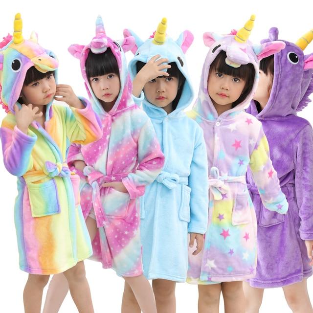 31ebe6ecee New Baby Girls Bathrobe Robe Cartoon Children Autumn Winter Bathing Suit  Animal Pajamas For Kids Unicorn Hooded Towel Bath Robe