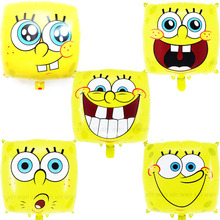 (5pcs/lot) Spongebob balloon smile face cartoon spongebob helium for birthday party decoration foil