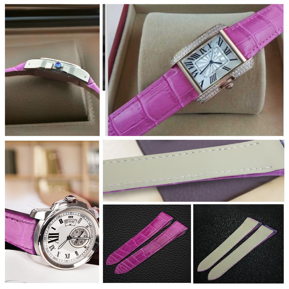 ZLIMSN bracelet en cuir de Crocodile de luxe de haute qualité rouge confortable imperméable à l'eau Fine artisanat couture 12mm-26mm pour hommes femmes - 3