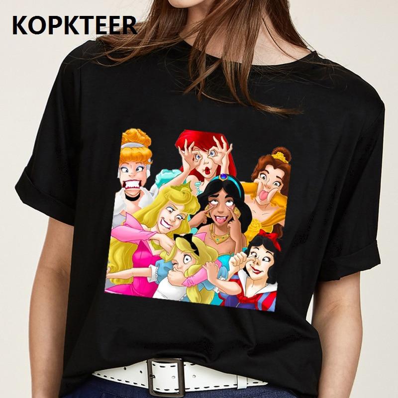 Camiseta Mujer Harajuku Black T Shirt WomenClothes 2019 Funny Cute Princess Graphic Tees Ulzzang Tops Tee Shirt Femme Streetwear