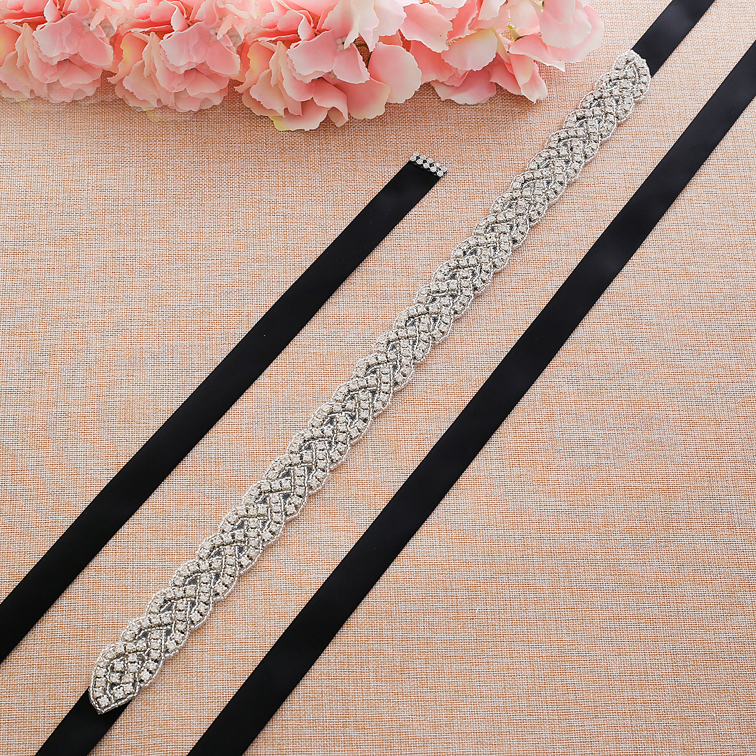 Rhinestones Wedding Dress Belt Sliver Crystal Bridal Sash Diamond Bridal Belt For Women Dresses J116S