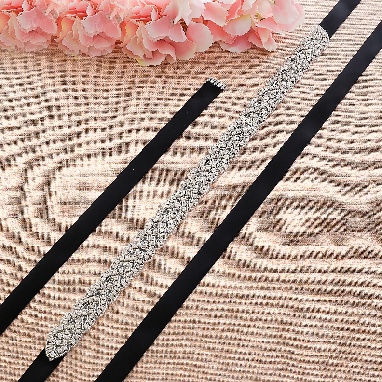 Rhinestones Wedding Dress Belt Sliver Crystal Bridal Sash Diamond Bridal Belt For Women Dresses J116S