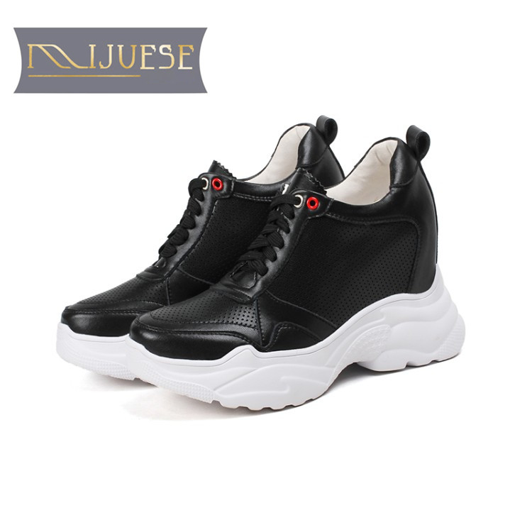 MLJUESE 2018 women sneakers cow leather lace up cutouts Black color autumn spring hidden heel wedges