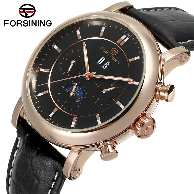FORSINING Men Luxury Brand Genuine Leather Moon Phase Calendar Watch Automatic Mechanical Wristwatches Gift Box Relogio Releges fashion winner men luxury brand gold skeleton genuine leather watch automatic mechanical wristwatches gift box relogio releges