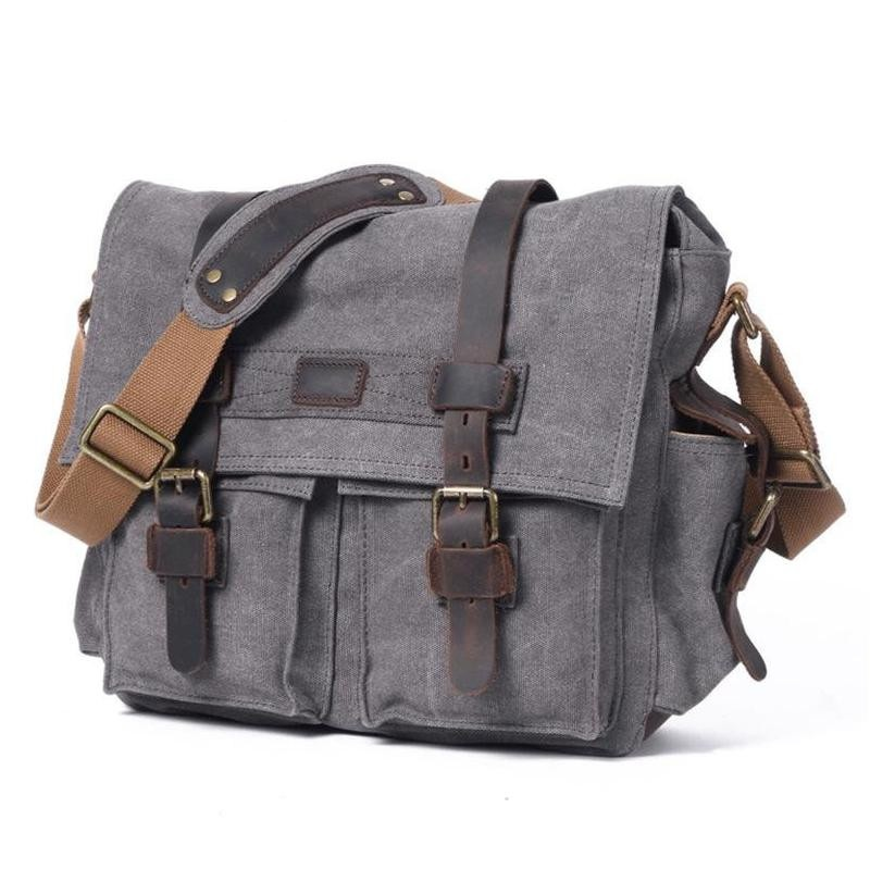YUPINXUAN Pure Cotton Canvas and Cow Leather Retro Shoulder Bags for Men Vintage Messenger Bag Large Capacity Canvas Camera Bags-in Crossbody Bags from Luggage & Bags    1
