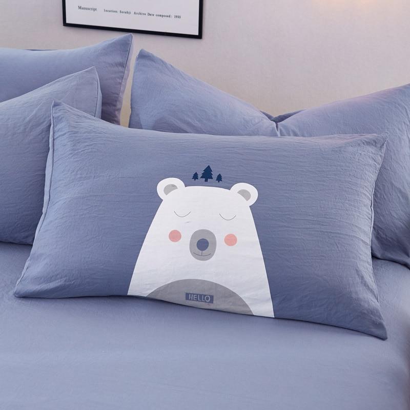 Liv Esthete Cute White Bear Cartoon Bedding Set Blue Duvet Cover Flat Sheet Bedspread Double Queen King Bed Linen For Adult Kids in Bedding Sets from Home Garden