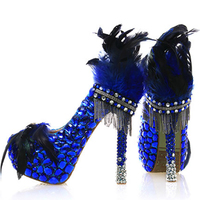 Wedding Crystal Shoes Bride Royal Blue Platform Luxury Women Pumps Round Toe Sexy High Heel Rhinestone Party Shoes Big Size 43