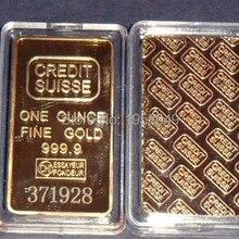 Лазерный номер бесплатно, высокое качество 10 шт./лот Credit suisse Fine gold Реплика слитка. 999 Позолоченный слиток
