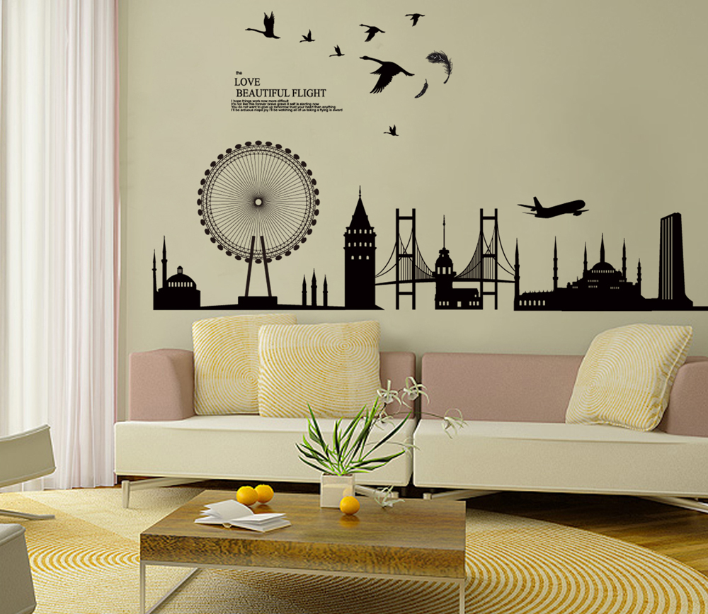 living room wall decor stickers black city silhouette cityscape ferris wheel bridge wall 19361