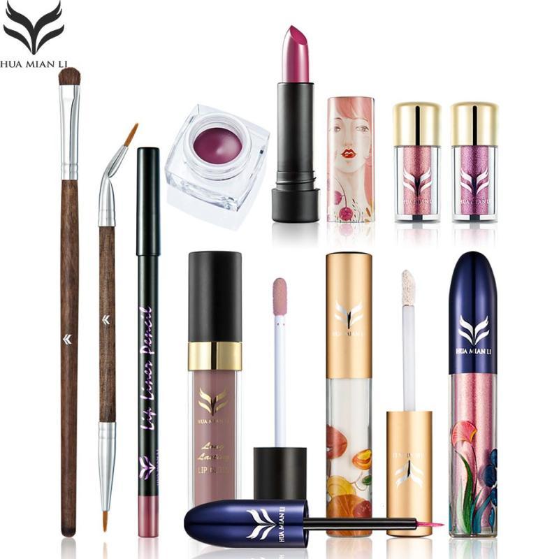HUAMIANLI 10Pcs Lots Eyeliners Lip Stick Gloss Professional Makeup Sets For Women Face Lip Eye Beauty