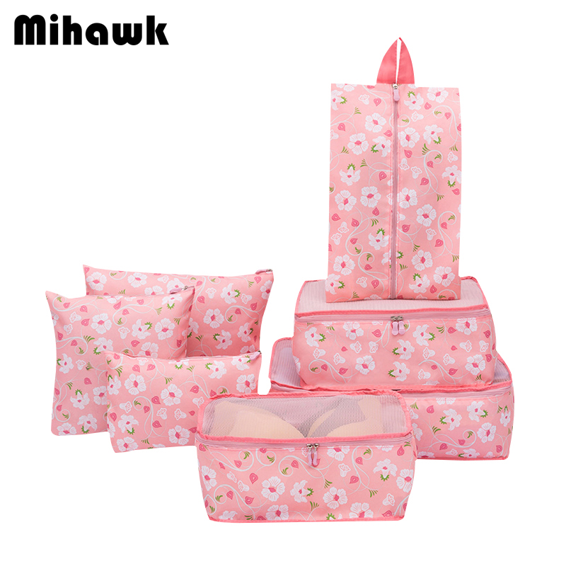 f47592af4957 US $14.48 30% OFF|Mihawk 7Pcs/Set Travel Bags Women Men Pink Foldable  Duffle Tote Luggage Organizer Suitcases Packing Cubes Traveling Pouch  Stuff-in ...