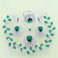Green Emerald White Topaz Crystal 925 Sterling Silver Jewelry Set For Women Bracelets Necklace Earrings Ring