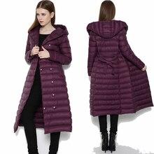 Утка Подпушка куртка Для женщин двубортный Стеганое пальто больше плюс Размеры тонкий Подпушка женский с капюшоном выше колена куртка Подпушка jacketxxl