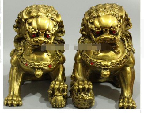 Copper Brass CHINESE crafts decor ation Asian 9 China Fengshui animal Pure Brass Door Guardian Lion Foo Dog Statue Pair