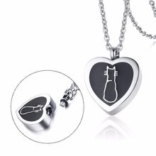 Pet Cremation Jewelry Stainless Steel Pendant Necklace Urn for Ashes Black Cat on Heart Kitty Kitten Keepsake Jewellery 20in(China)