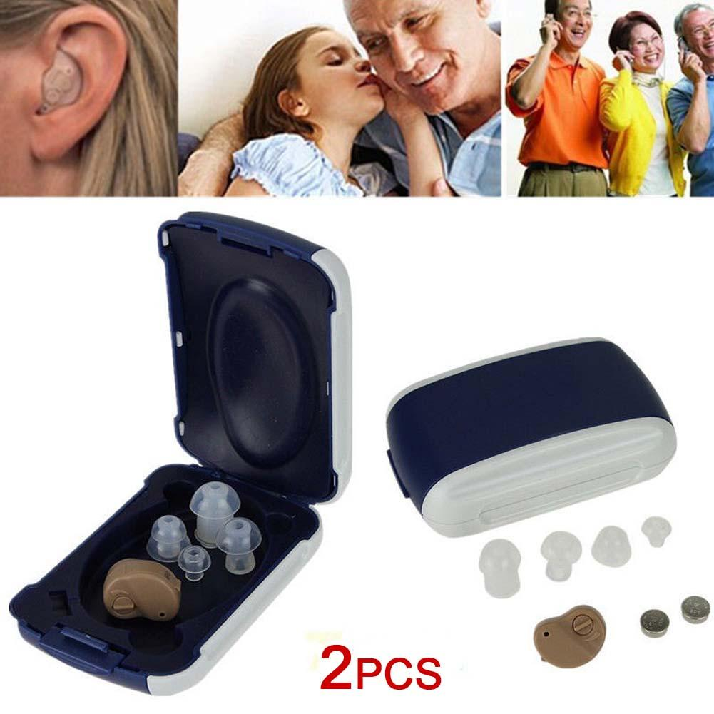 2PCS/lot Mini Clear Listening Hearing Aids Ear Hearing Controller Personal Sound Amplifier In The Ear Tone Volume Adjustable