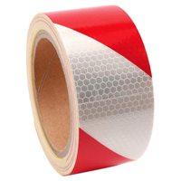 10m x 5cm 안전 경고 테이프 반사 테이프 자기 접착 테이프 반사 스트립 교통 반사 스티커 색상: 레드 + 화이트