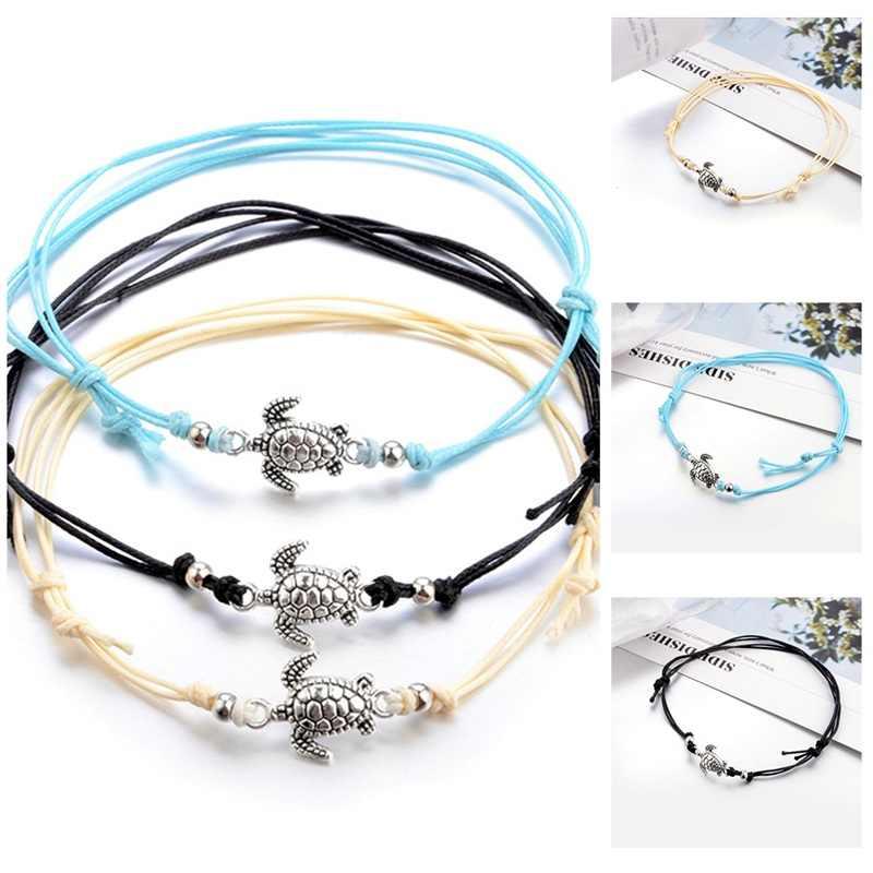 Urok sznurek linowy obrączki lato plaża w kształcie żółwia dla kobiet bransoletka kostki sandały damskie na noga łańcuch stóp biżuteria