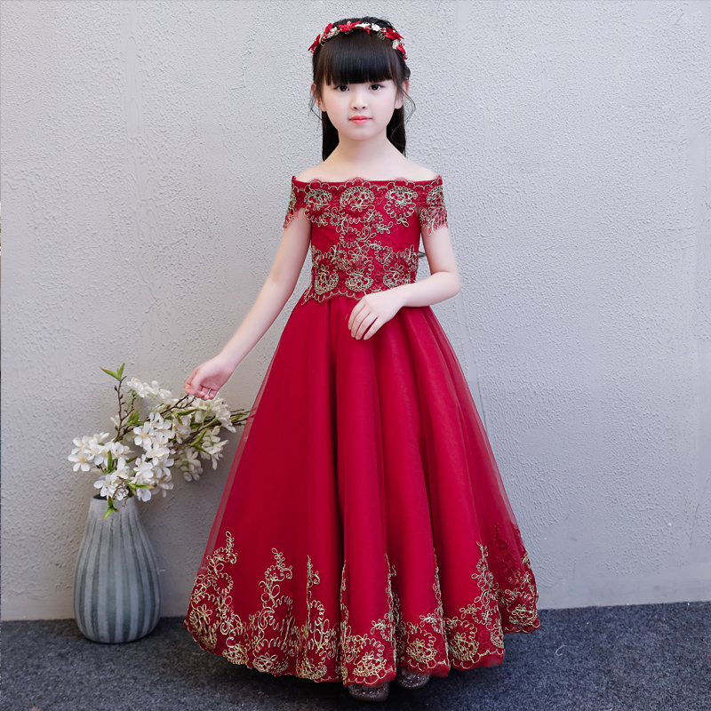 2018 Elegant Baby Girls Wine-red Summer Birthday Wedding Ball Gown Lace Mesh Dress Children Kids Model Show Communication Dress