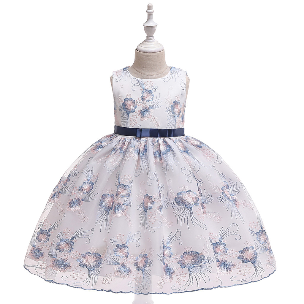 US Kids Girl Dress Floral Pattern Princess Party Wedding Sleeveless Prom Gown