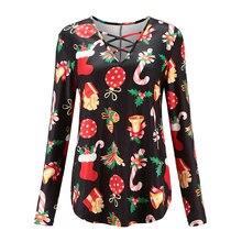 JYSS new streetwear Christmas tshirts long sleeve t shirt women full of snowman santa claus xmas gift pattern shirts 81807 цена и фото