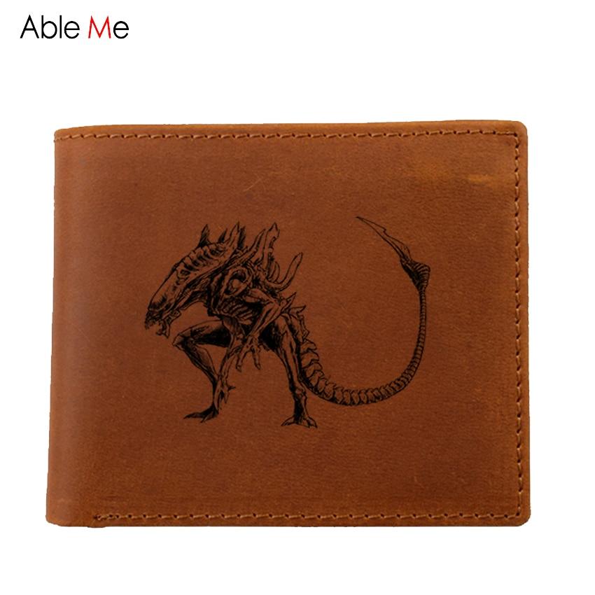 цена на Genuine Leather Wallet Men Coin Purse Male Cuzdan Small Walet Portomonee  custom picture alien Slim Mini Perse Vallet Money Bag
