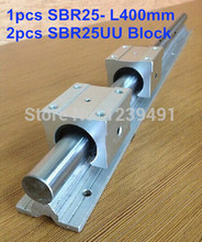 купить 1pcs SBR25 L400mm linear guide + 2pcs SBR25UU block по цене 980.04 рублей